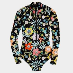 J crew liberty pavilion floral rash guard swimsuit